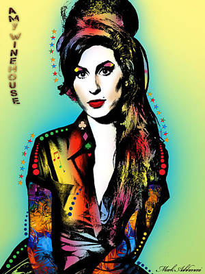 Famous Women Painting - Amy Winehouse by Mark Ashkenazi