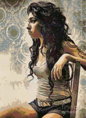Digital Art - Amy Winehouse by Paulette B Wright