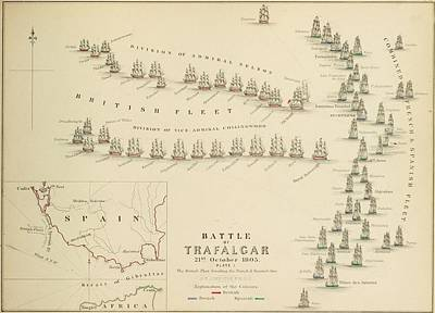 Vivid Drawing - An 1848 Plan Of The Fleet Positions At The Battle Of Trafalgar by Celestial Images