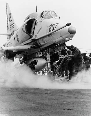 Take A View Photograph - An A-4f Skyhawk On The Steam Catapult by Stocktrek Images