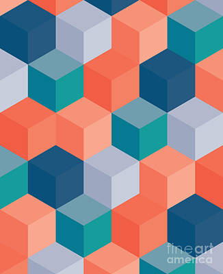 Shapes Wall Art - Digital Art - An Abstract Geometric Vector Background by Mike Taylor