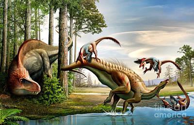 An Acrocanthosaurus Observes Print by Mohamad Haghani