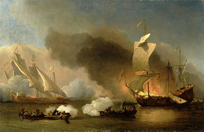 Pirate Ship Painting - An Action Off The Barbary Coast With Galleys And English by Litz Collection