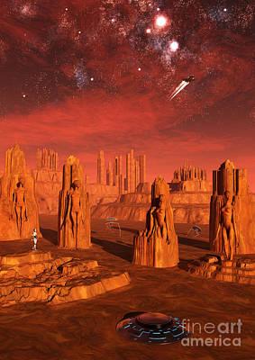 Ancient Civilization Digital Art - An Advanced Race Exploring The Ancient by Mark Stevenson