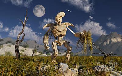 Surrealism Digital Art - An Advanced Robot On An Exploration by Stocktrek Images