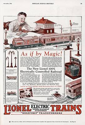 Lionel Trains Drawing - An Advertisement For The New Lionel by Mary Evans Picture Library