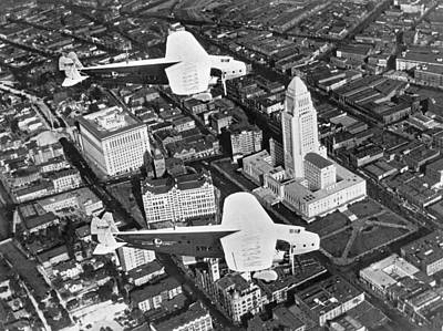 An Aerial View Of Los Angeles Art Print by Underwood Archives