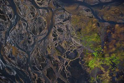 An Aerial View Of Streams Of Glacier Art Print by Keith Ladzinski
