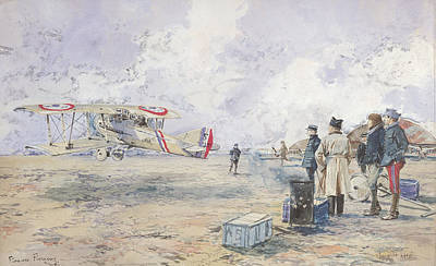 An Aeroplane Taking Off, 1913 Wc On Paper Print by Francois Flameng