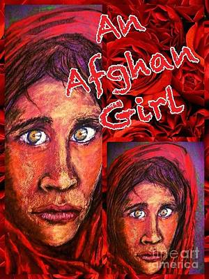Mixed Media - An Afghan Girl Collage Design by Joan-Violet Stretch
