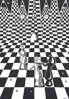 Chess Pieces Painting - An Afternoon In The Queens Garden by Heidi Bjork