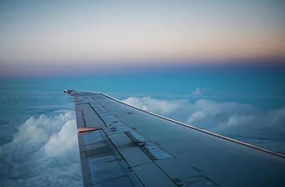 An Airliner Descends On Dallas At Dusk Art Print by Robert L. Potts