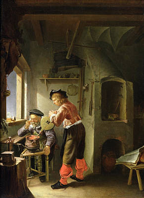 Bellows Photograph - An Alchemist And His Assistant In Their Workshop Oil On Panel by Frans van Mieris