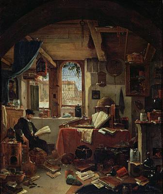 An Alchemist In His Laboratory Oil On Canvas Art Print by Thomas Wyck
