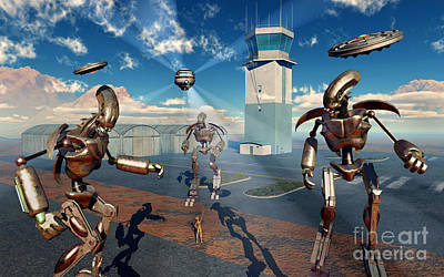 Spaceport Digital Art - An Alien Being With Giant Robots by Mark Stevenson