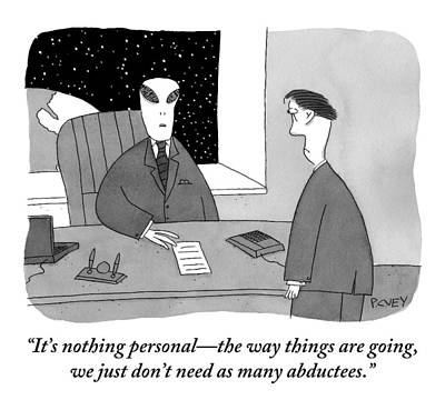 Outer Space Drawing - An Alien Businessman Addresses A Man Standing by Peter C. Vey