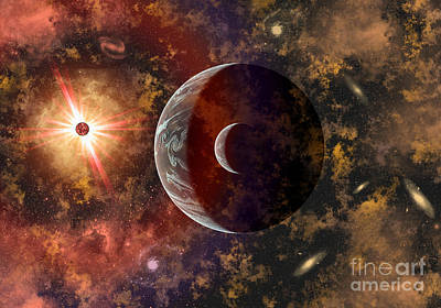 Surrealism Royalty-Free and Rights-Managed Images - An Alien Planet And Its Moon In Orbit by Mark Stevenson
