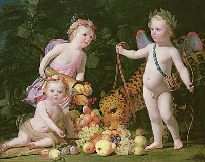 Cherub Painting - An Allegory Of Peace And Plenty by Gerrit van Honthorst