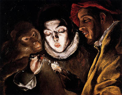 Fool Painting - An Allegory With A Boy Lighting A Candle In The Company Of An Ape And A Fool by El Greco