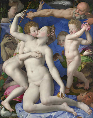 An Allegory With Venus And Cupid Print by Bronzino
