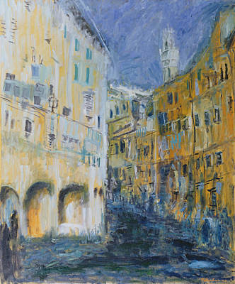 Tuscan Hills Photograph - An Alleyway In Florence, 1995 Oil On Canvas by Patricia Espir