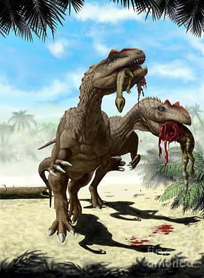An Allosaurus And A Hypsilophodon Find Print by Yuriy Priymak