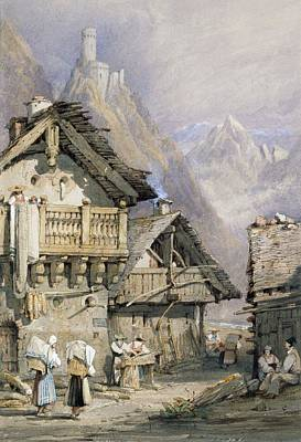 Rural Scene Drawing - An Alpine Village by Samuel Prout