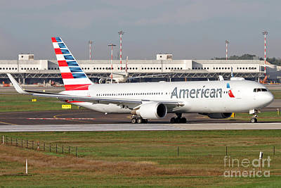 Landmarks Royalty Free Images - An American Airlines Boeing 767 Royalty-Free Image by Luca Nicolotti
