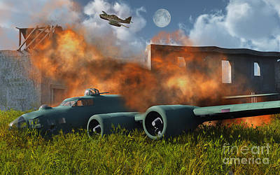 Destruction Digital Art - An American B-17 Flying Fortress Shot by Mark Stevenson