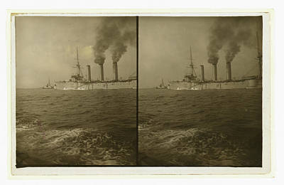 Cruiser Drawing - An American Cruiser Being Guided By A Tugboat by Litz Collection