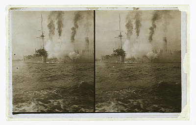 Cruiser Drawing - An American Cruiser Firing Its Guns In Salute As It Arrives by Litz Collection