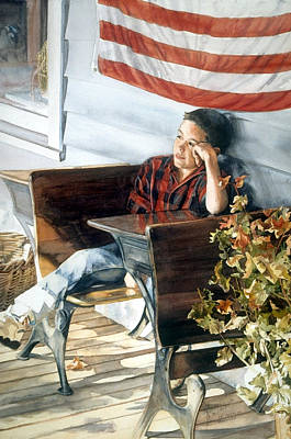 Wall Art - Painting - An American Dreamer by Nancy Delgado