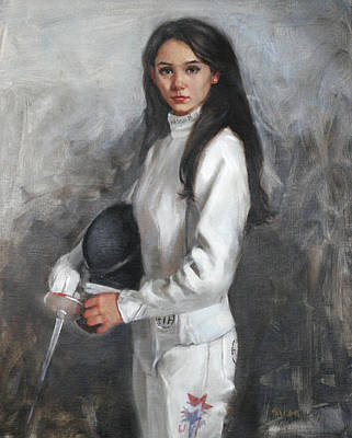 Painting - An American Fencer Portrait Of Lee Kiefer 2012 Us Olympic Women's Fencing Team by Chris  Saper
