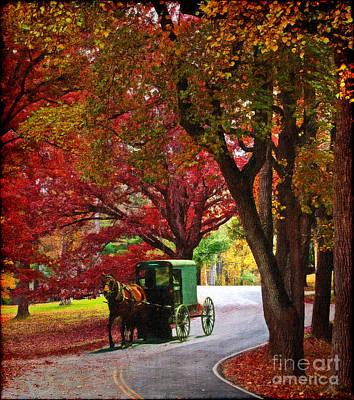 Animals Digital Art - An Amish Autumn Ride by Lianne Schneider
