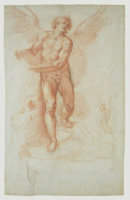 An Angel Holding A Book Recto,  Three Studies Of A Falling Art Print