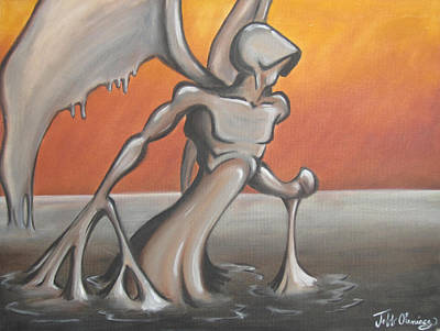 Oil Slick Painting - An Angel Out Of Oil by Jeffrey Oleniacz