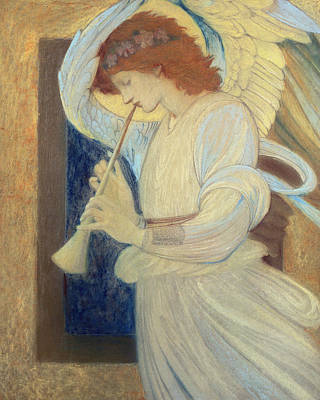 Trumpet Painting - An Angel Playing A Flageolet by Sir Edward Coley Burne-Jones