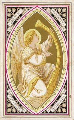 An Angel Plays A Harp          Date Art Print by Mary Evans Picture Library