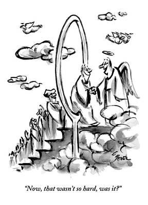 Angels Drawing - An Angel Welcomes A Man Walking Through A Hoop by Lee Lorenz