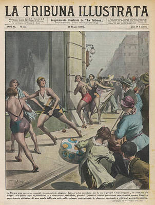 Provocative Drawing - An Angry Paris Mob Attack  Swimwear by Mary Evans Picture Library