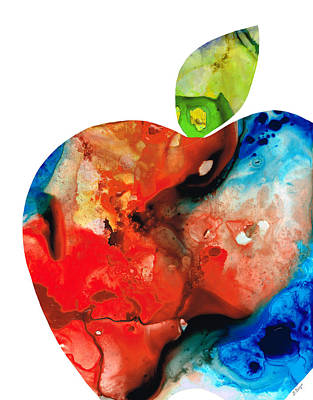 Cafes Painting - An Apple A Day - Colorful Fruit Art By Sharon Cummings  by Sharon Cummings