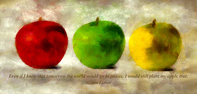 Still Life Mixed Media - An Apple A Day With Martin Luther by Angelina Tamez