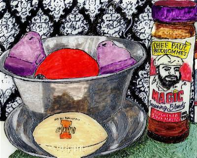 An Apple Purple Peeps And Paul Prudhomme Art Print by Phil Strang