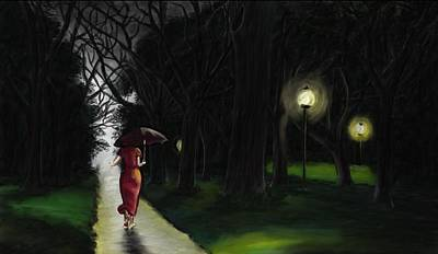 Woman In Shower Painting - An Approaching Evening Moistened By The Soft Rain Piercing The Clouds - Rain In The Woods by Neelanjan Bardhan