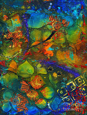 Mixed Media - An Aquatic Wine Party by Angela L Walker