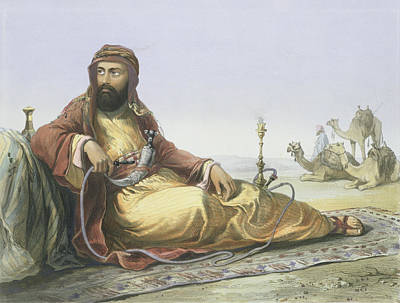 Camel Drawing - An Arab Resting In The Desert, Title by Emile Prisse d'Avennes