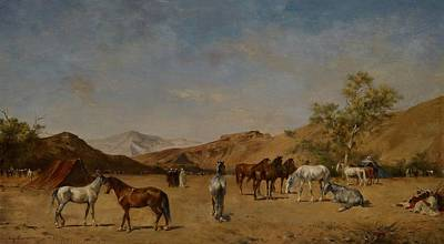 Mountainous Painting - An Arabian Camp by Eugene Fromentin