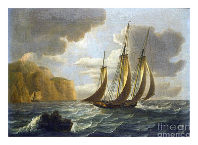 Patrol Painting - An Armed Revenue Cutter On Patrol With A Potential Quarry Sheltering Below The Cliffs by Pablo Romero