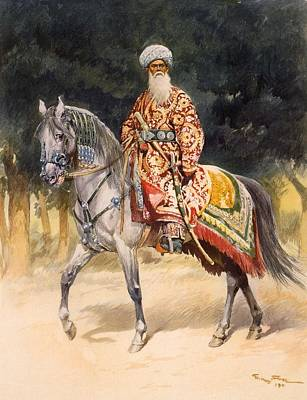Turkish Painting - An Armed Warrior Mounted On A Turkoman by