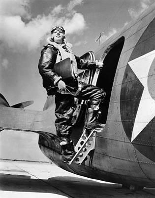 Boarding Photograph - An Army Air Force Navigator by Underwood Archives